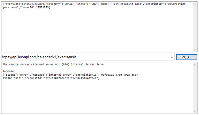 HubSpot Community - 500 Internal Error while creating task via API