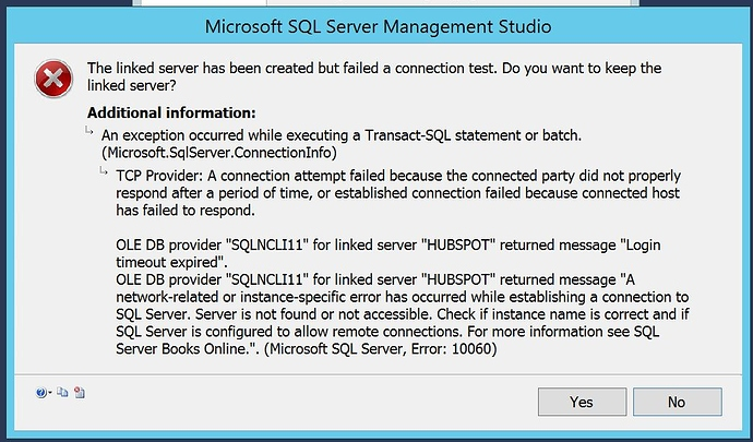HubSpot Community - Unable to import HubSpot data to SQL server