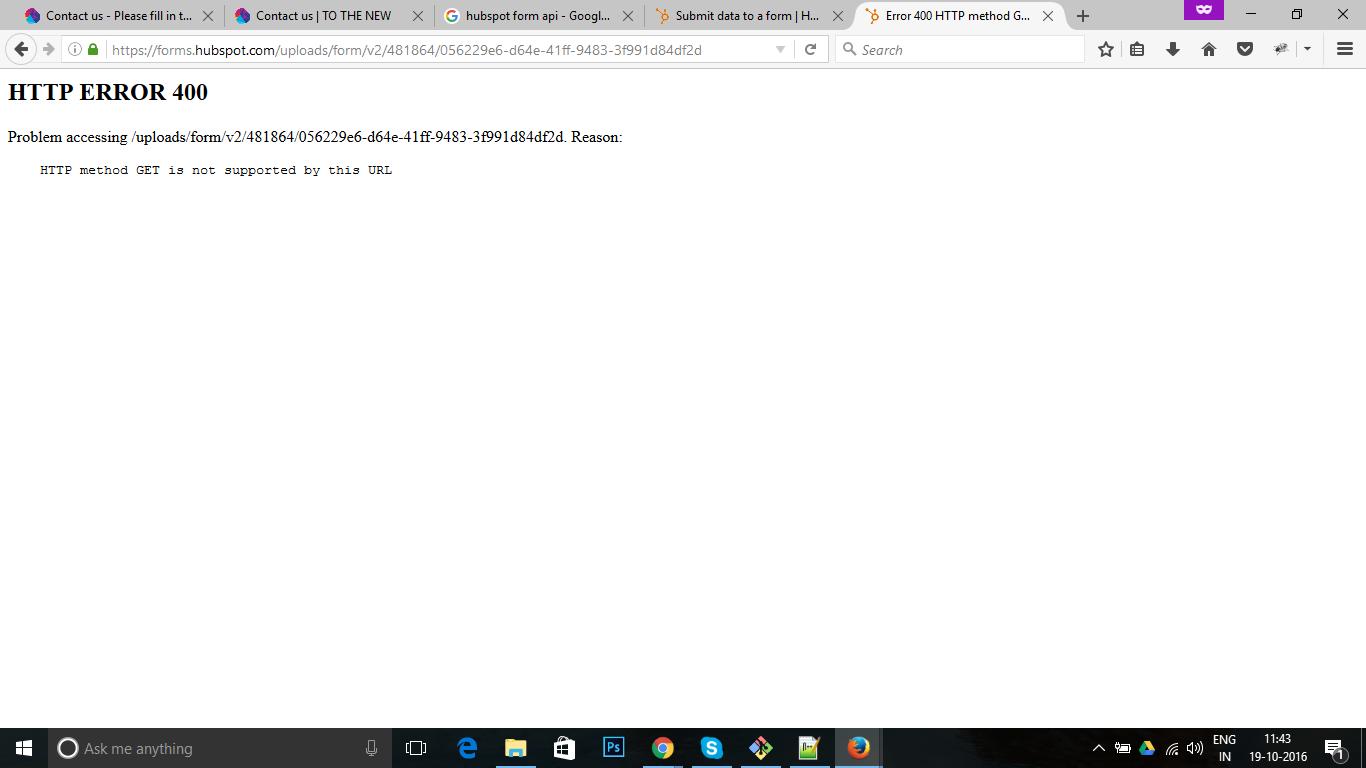 HubSpot Community - Forms API Not Working - 400 Error
