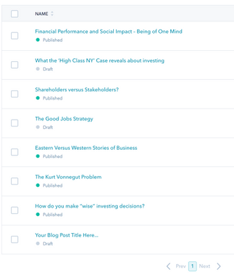 Published and un-published posts in blog editor
