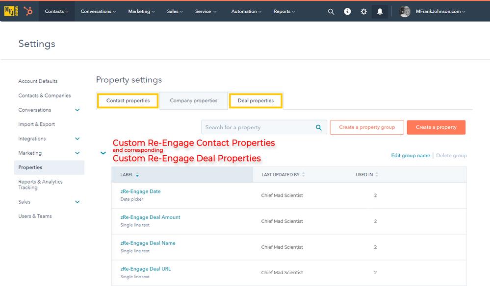 HubSpot Custom Contact and Corresponding Custom Deal Properties