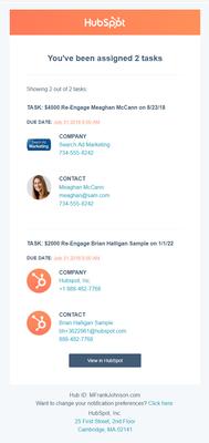 HubSpot Custom Task Email