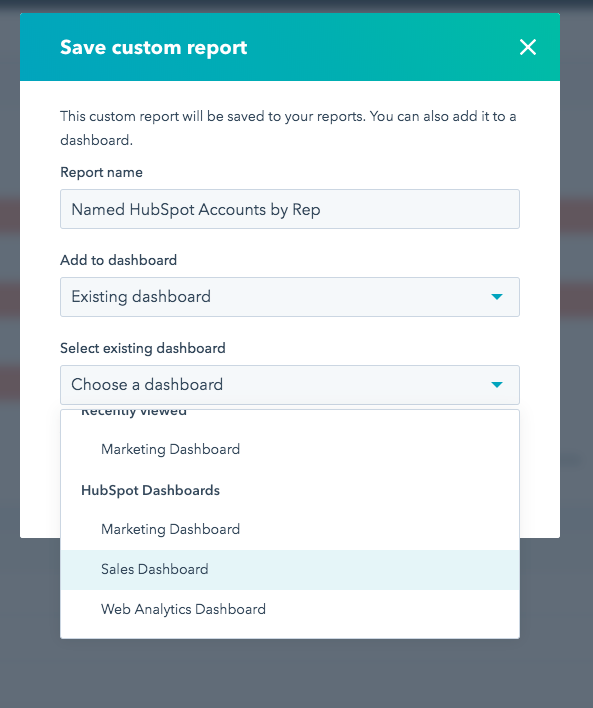 """""""Existing Dashboard"""" only allows the default HS dashboards to be selected not the custom dashboards."""