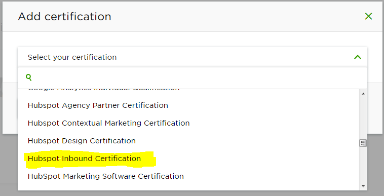 This certificate is one of the HubSpot certificates supported by Upwork