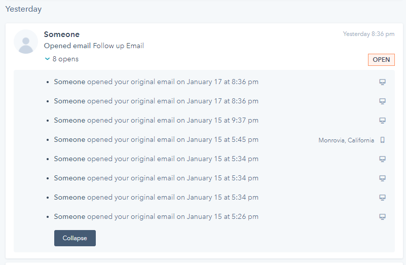 """Unable to Click on the """"Someone"""" To take me to their HubSpot account."""
