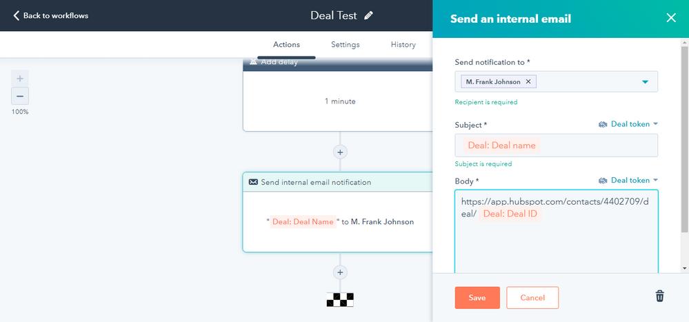 Hubspot Deal Workflow Internal Notification