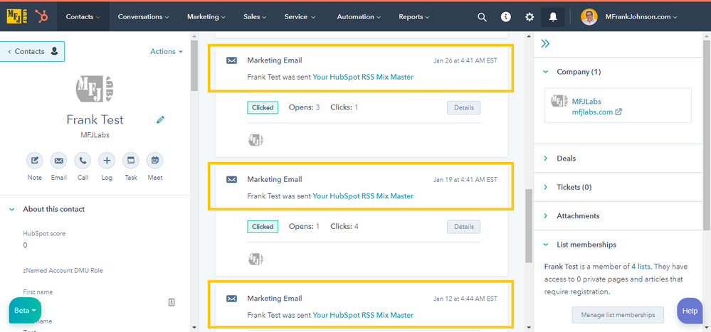 Contact Timeline: Last Marketing Email Send Date
