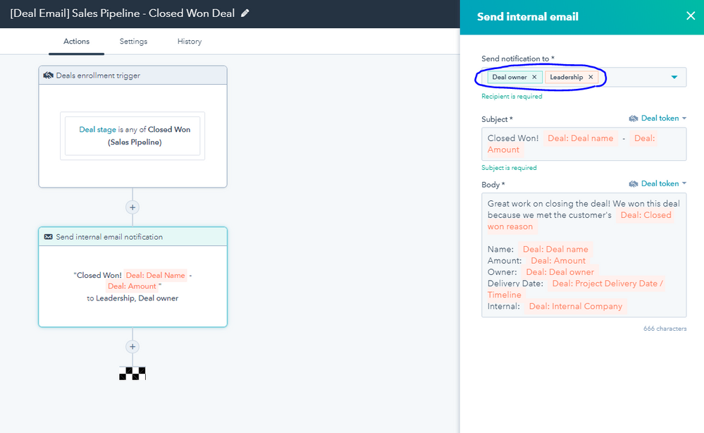 Here is the workflow I created for my team. You can use Hubspot teams to send to your sales team
