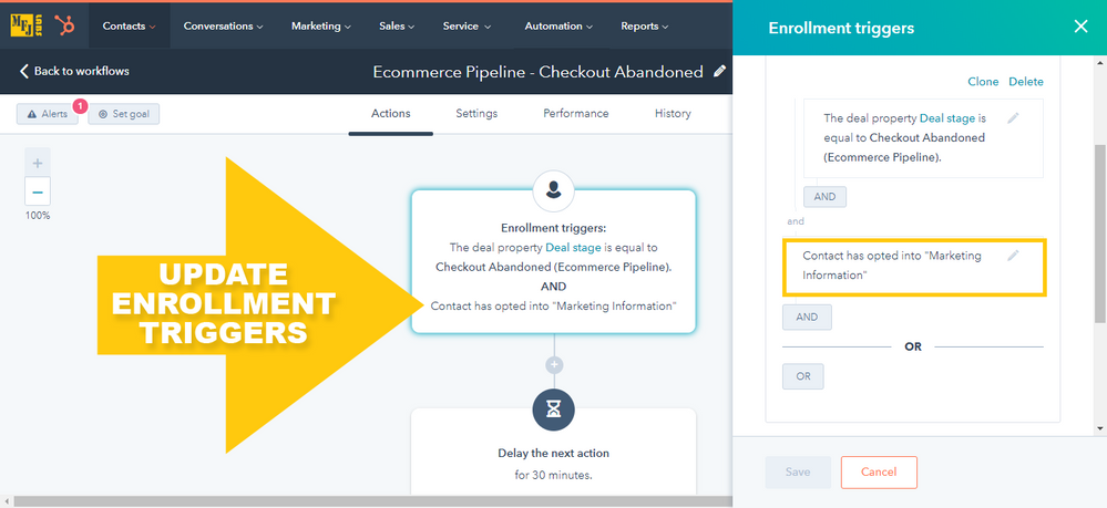 HubSpot Contact-based Workflow: Checkout Abandoned AND Marketing Information Opted-In Enrollment Triggers