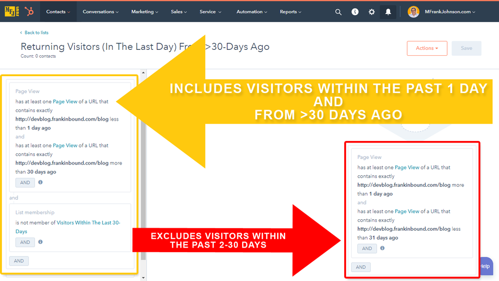 HubSpot Smart Lists - Returning Visitors (In The Last Day) From >30-Days Ago