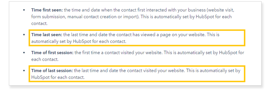 HubSpot Time of last session and Time last seen default HubSpot Contact properties
