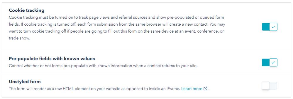 HubSpot Form Options (default settings)