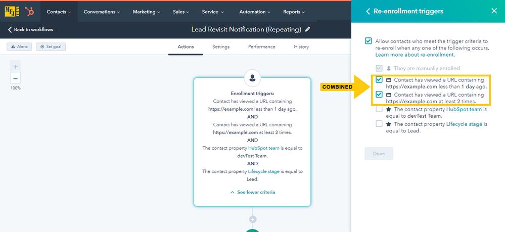 HubSpot Workflow - Lead Revisit (Team-Specific)