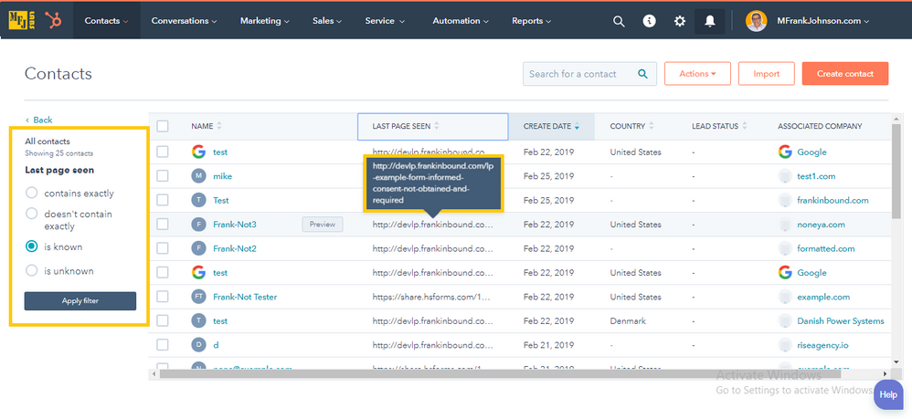 HubSpot Contact View Filter: Last Page Seen
