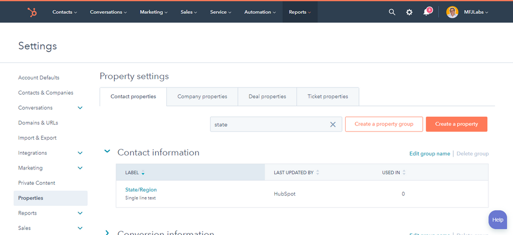 HubSpot Default State/Region Property Type