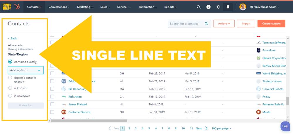 HubSpot View Filter Example: SINGLE LINE TEXT