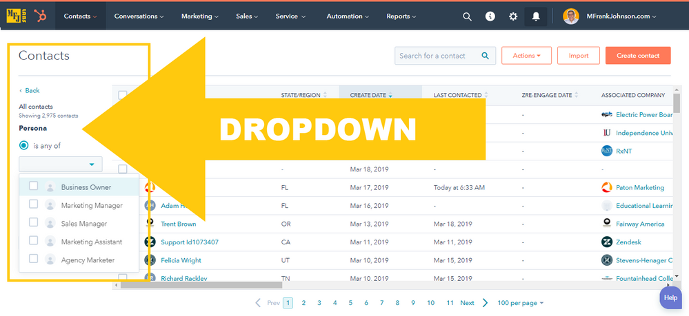 HubSpot View Filter Example: DROPDOWN