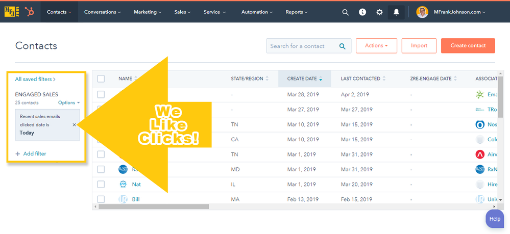 HubSpot Sales Pro View Filters: Recent sales emails clicked