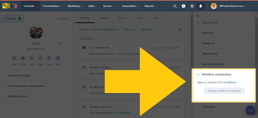 HubSpot Contact Workflow Membership History