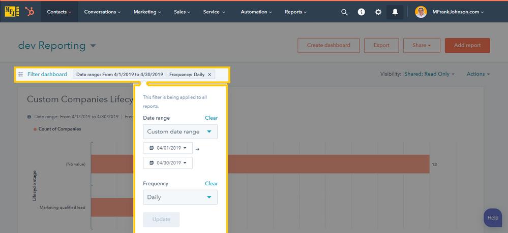 HubSpot Dashboard Report: Custom Date Range