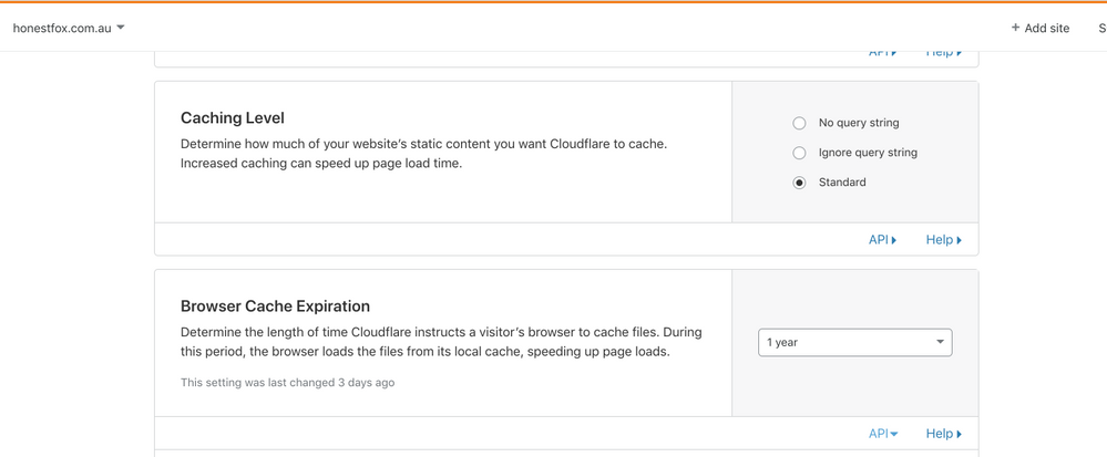 Example of browser cache settings in Cloudflare