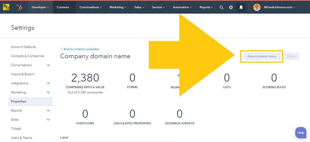 Export HubSpot Company Domain Name Property History