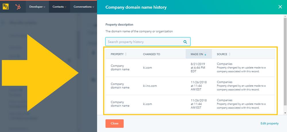 HubSpot Company Domain Name Property History