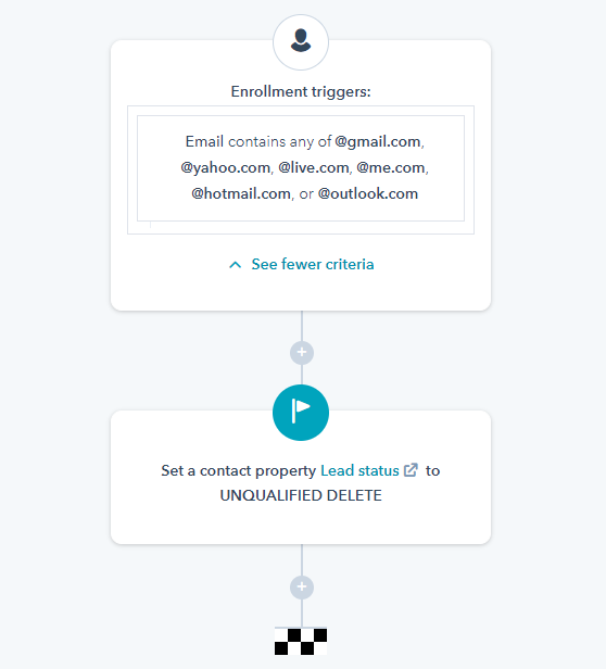 HubSpot Contact Workflow: Screen Free Email Addresses