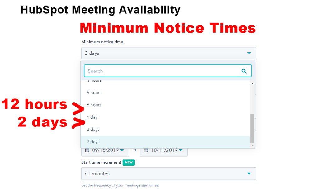 HubSpot Meeting Availability -- Minimum Notice Times