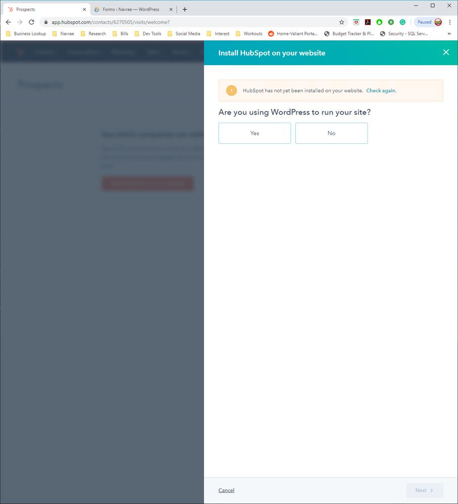 Hubspot not recognizing plugin