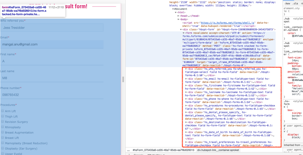 The code in the red box is all extra. The form code is just the one highlighted in blue