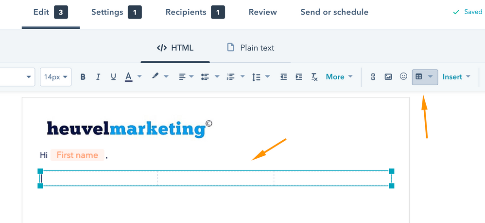 1. Create a new email and add a table to the rich text module