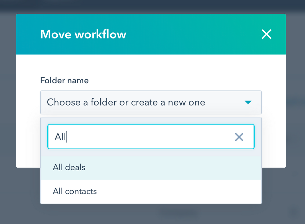 """The search bar should be the first thing that appears below the """"Choose a folder or create a new one"""" label"""