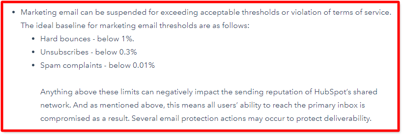 Excerpt from Things to know about HubSpot marketing email.