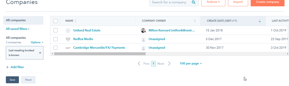 The search shows only 3 companies when there are more companies that has meetings booked.