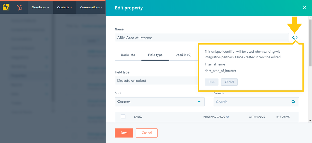 HubSpot Properties Internal Values