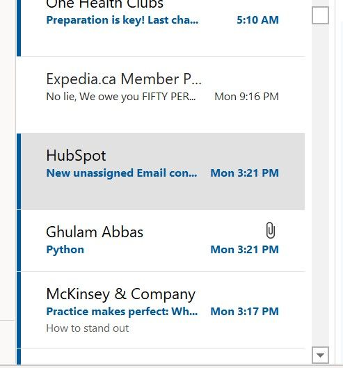 Refer to email from Ghulam Abbas, followed by notification from Hubspot
