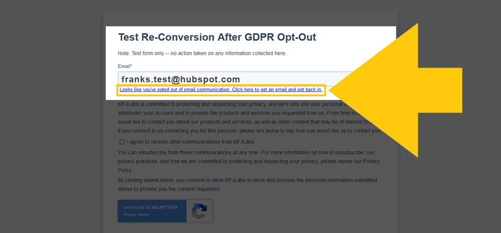 HubSpot Re-conversion Message For Contact Previously Opted-Out Via Opt-Out Import List