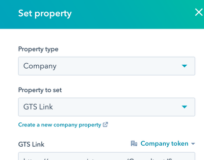 "Company ""Set property"" action"