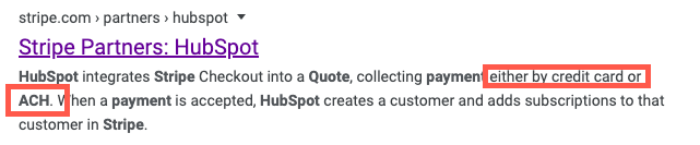 Stripe's integration page meta description