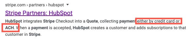 Stripe's integration page meta description