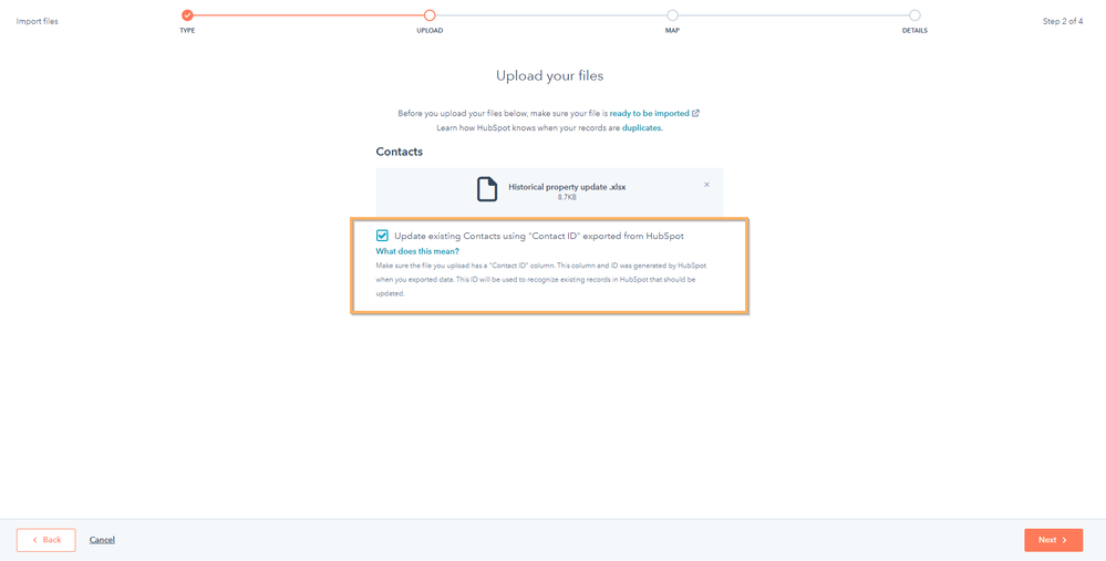 Update existing contacts using Contact ID exported from HubSpot checkbox