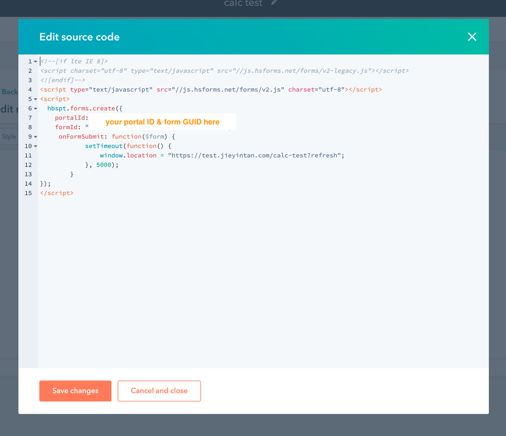 Form embed code in my default rich text module