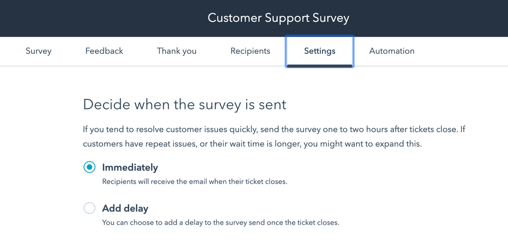 Customer Support Survey Settings_Services_Andimol
