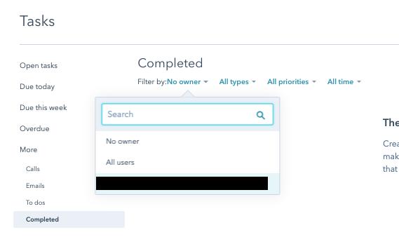 Completed tasks filter by owner