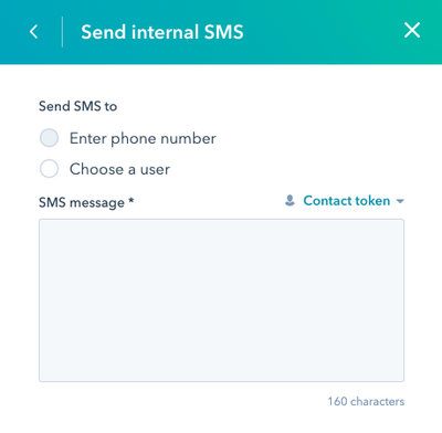 Send Internal SMS Functionality
