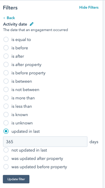 Activity filter