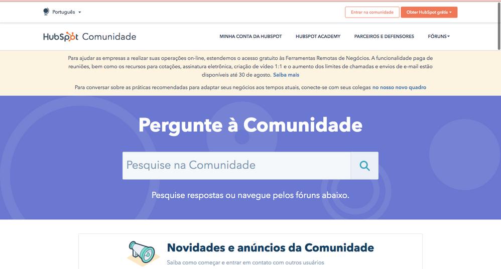 Pagina inicial da Comunidade