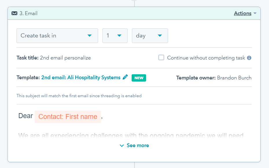 Email task template not tracked