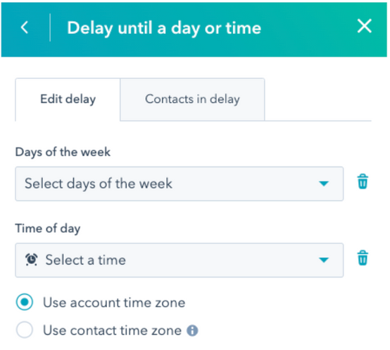 Delay until a day or time